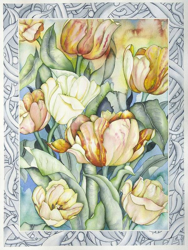 Flowers Art Print featuring the painting Secret World IIi by Liduine Bekman