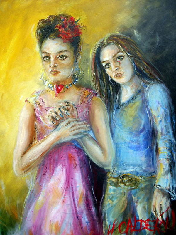 Self Portrait Art Print featuring the painting Self by Heather Calderon