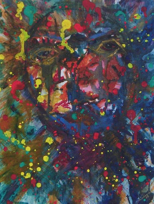 Abstract Art Print featuring the painting Self Imploded by Cathy Minerva
