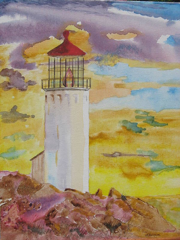Lighthouse Landscape Watercolor Art Print featuring the painting Sentinel Lighthouse by Warren Thompson