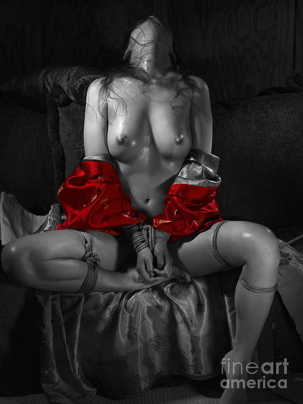 Erotic nude bondage concept art, girls showing pussy through bikini