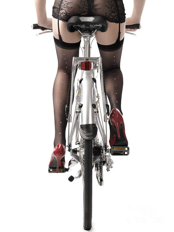 Legs Art Print featuring the photograph Sexy Woman Riding A Bike by Oleksiy Maksymenko