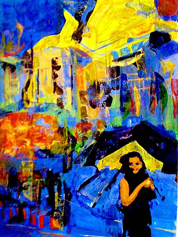 Artwork Art Print featuring the painting Shalom Manhattan by Maya Green