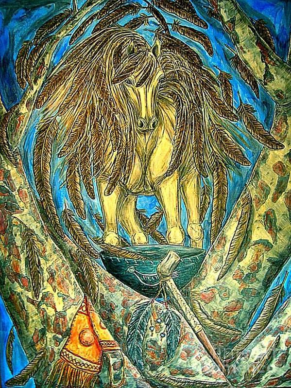 Animals Art Print featuring the painting Shaman Spirit by Kim Jones