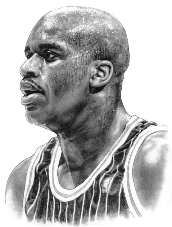 Shaq O'neal Art Print featuring the drawing Shaq O'neal by Harry West