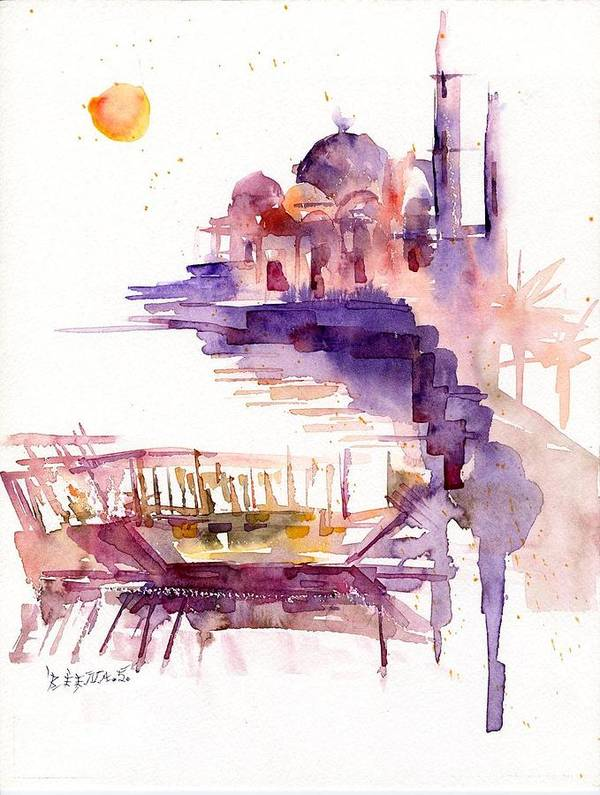 Landscape Art Print featuring the painting Sharjah Sunset by Beena Samuel