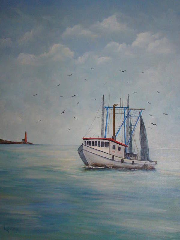 Shrimp Boat Art Print featuring the painting Shrimp Boat by Carolyn Speer