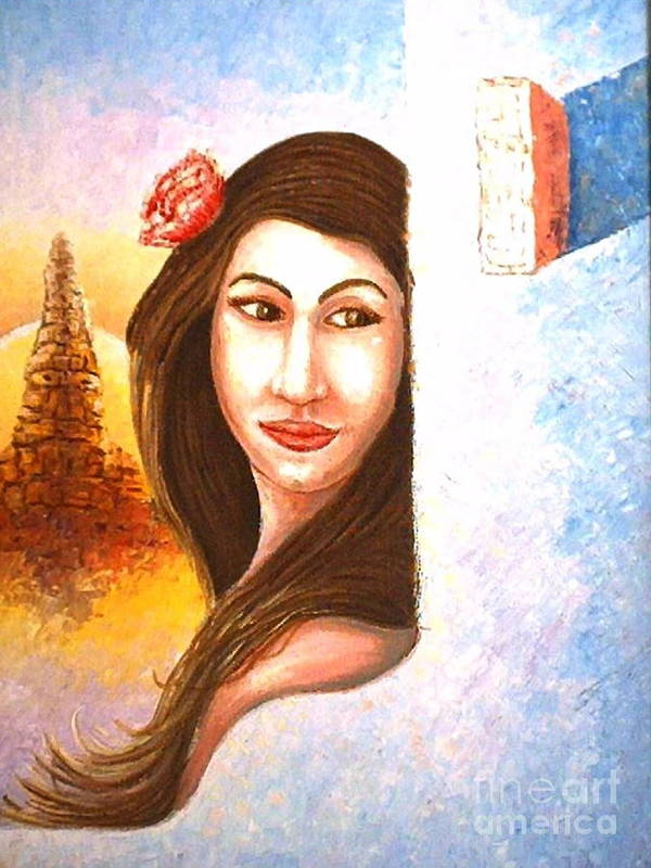 Portrait Art Print featuring the painting Shy Thoughts by Santiago Chavez