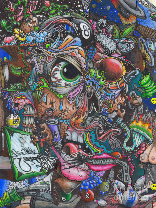 Colorful Art Print featuring the drawing Sick Reality by Brian Schuster