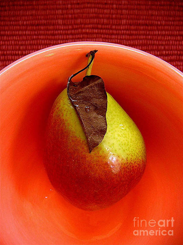 Nature Art Print featuring the photograph Single Pear In A Bowl by Lucyna A M Green