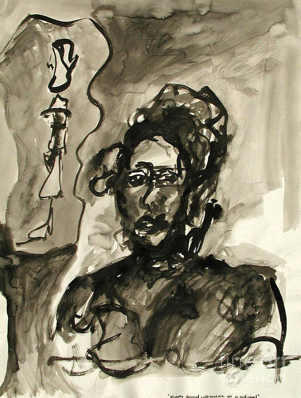 Ink Art Print featuring the painting Slightly Obsessed With Someone On A Pedestal by Sarah Goodbread