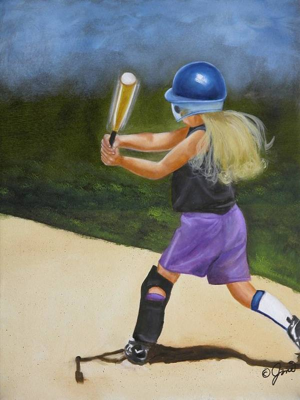 Child Art Print featuring the painting Slugger by Joni McPherson