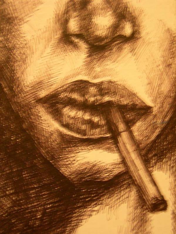 Smoking Art Print featuring the drawing Smoke Break by J Oriel