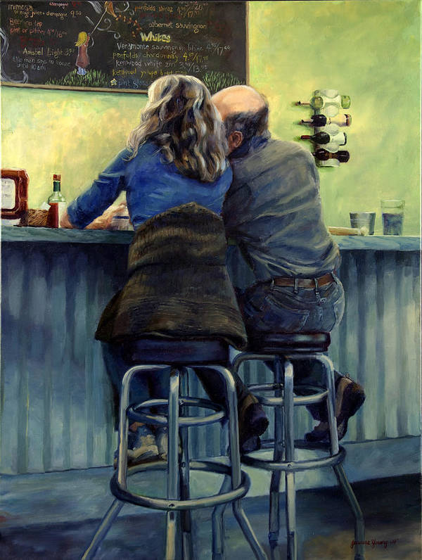 Restaurant Art Print featuring the painting Snow City Lovers by Jeanne Young