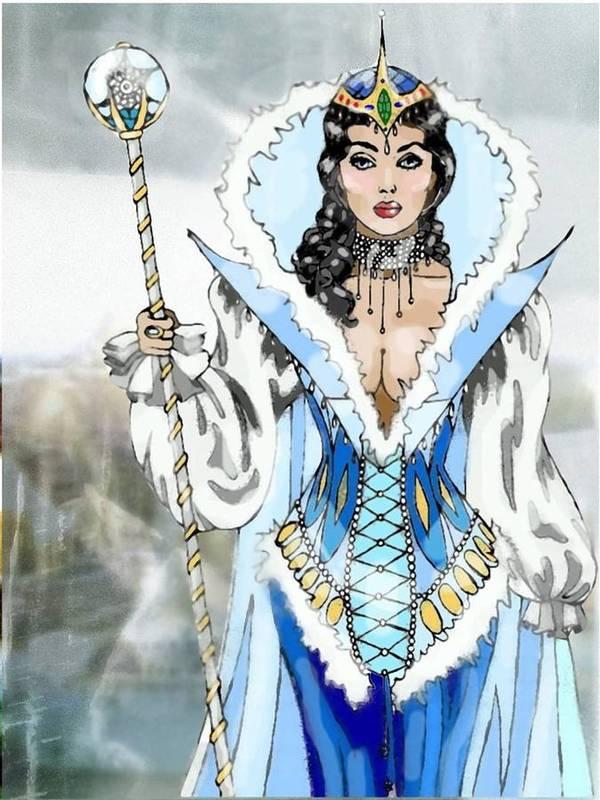 Queen Art Print featuring the digital art Snow Queen by Scarlett Royal