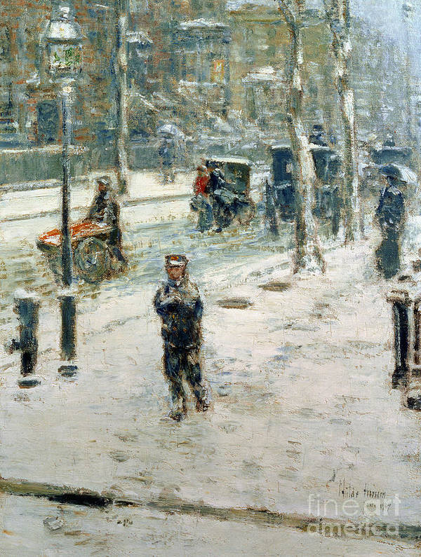 Snow Storm Print featuring the painting Snow Storm On Fifth Avenue by Childe Hassam