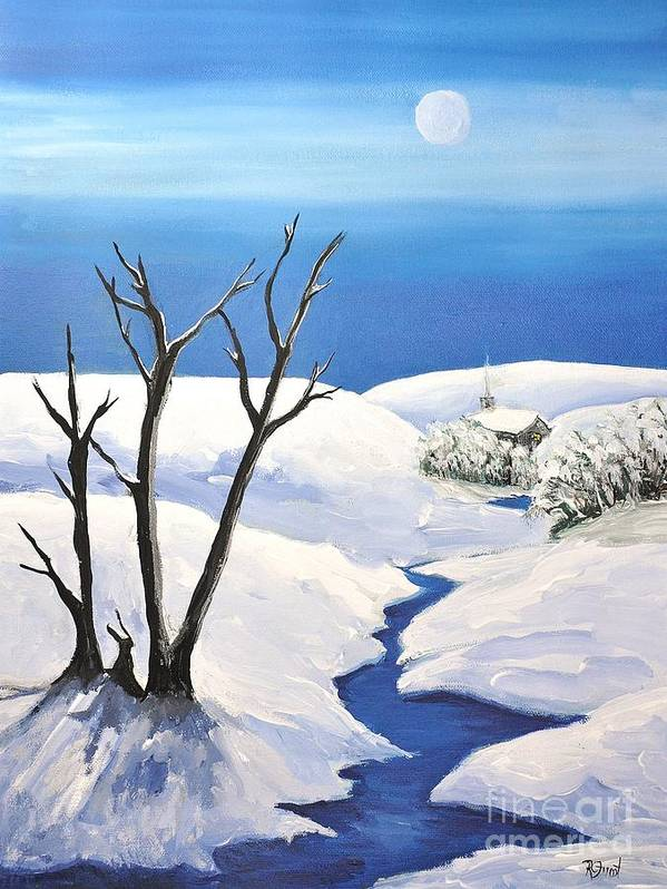 Snowy Scene Art Print featuring the painting Snowy Scene by Reb Frost