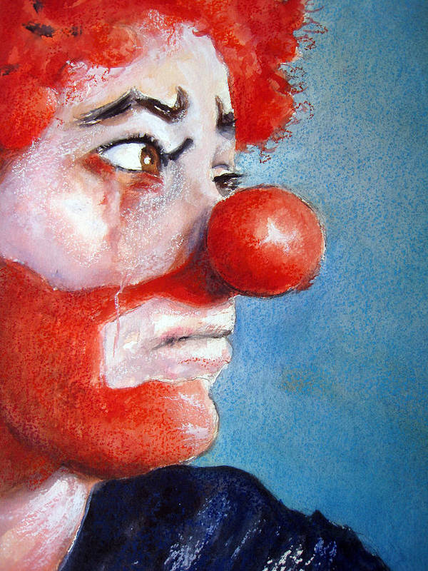 Clown Art Print featuring the painting So Sad by Myra Evans