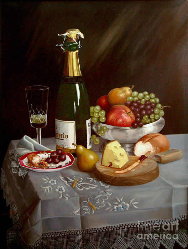 Codorniu Art Print featuring the painting Sobremesa After Food by Mai Griffin