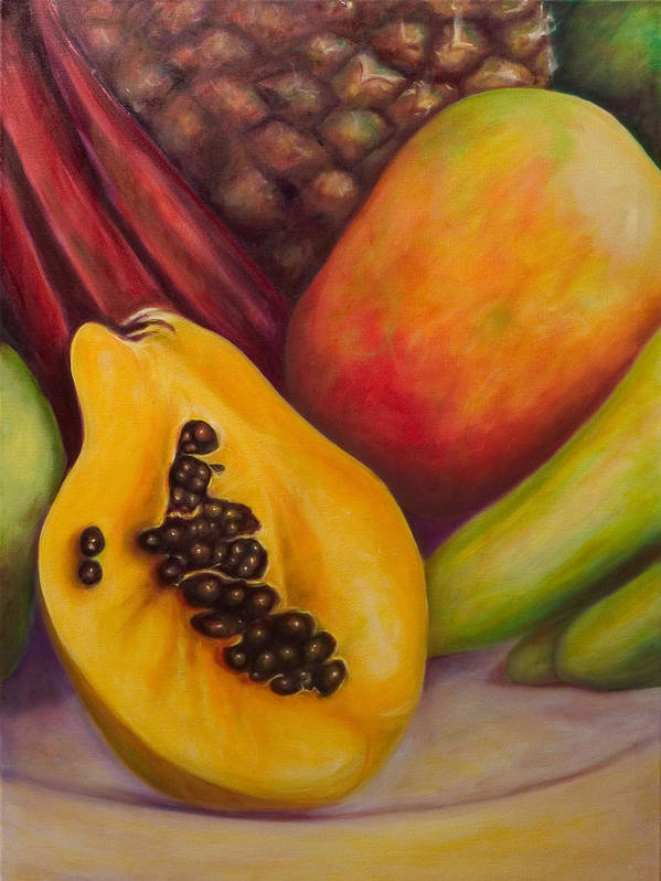 Tropical Fruit Still Life: Mangoes Art Print featuring the painting Solo by Shannon Grissom