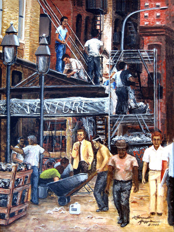 People Art Print featuring the painting South Street Seaport by Leonardo Ruggieri