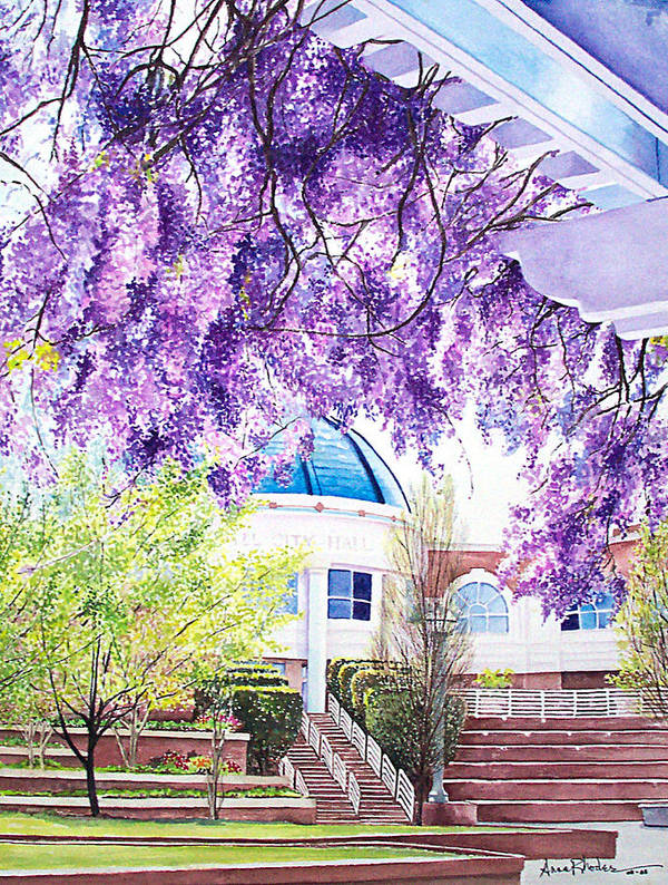Wisteria Art Print featuring the painting Spring At City Hall by Anne Rhodes