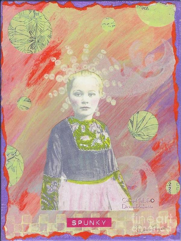 Orange Art Print featuring the mixed media Spunky Got Funky by Desiree Paquette