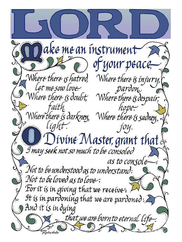 graphic regarding St Francis Prayer Printable named St Francis Prayer Lord Generate Me An Resource Of Your Leisure Artwork Print