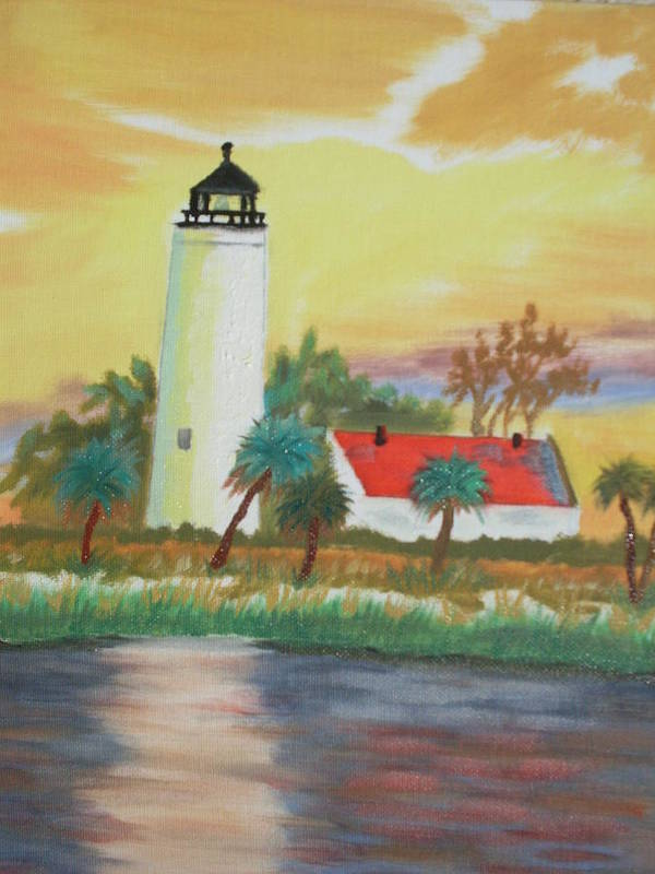 Lighthouse Art Print featuring the painting St Marks Lighthouse Fl 3 by Warren Thompson