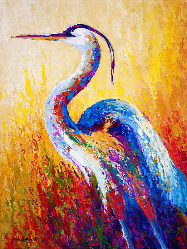 Heron Print featuring the painting Steady Gaze - Great Blue Heron by Marion Rose