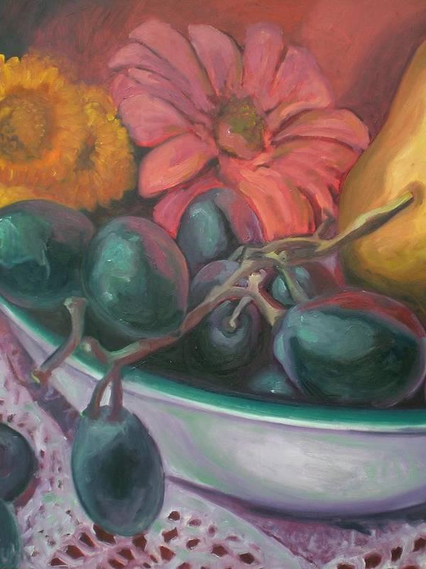 Still Life Art Print featuring the painting Still Life Grape Medley by Aleksandra Buha