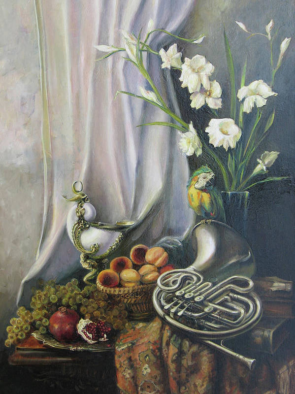 Armenian Art Print featuring the painting Still-life With The French Horn by Tigran Ghulyan