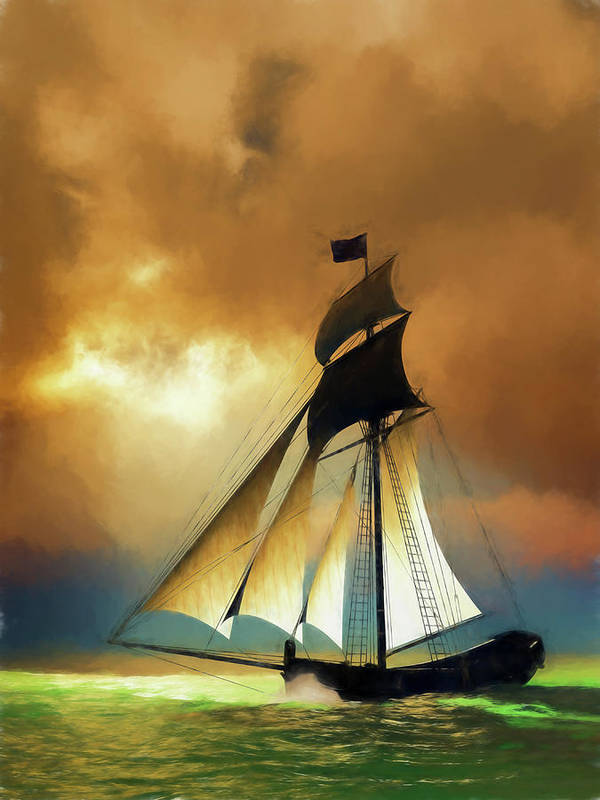 Sea Art Print featuring the digital art Storm Comes by Andreas Hoops
