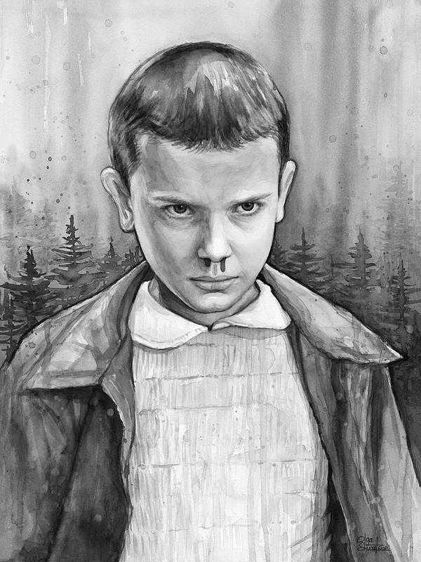 Stranger Things Art Print featuring the painting Stranger Things Fan Art Eleven by Olga Shvartsur