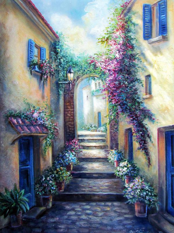 European Scene Art Print featuring the painting Streetscene In Old Town Greece by Regina Femrite