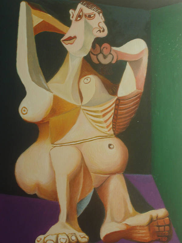 Nude . Abstract . Picasso . Picasso . Lady . Nude Lady. Nude Woman . Body . Language . Art Print featuring the painting study after Picasso lady dressing her hair by Ibrahim Rahma