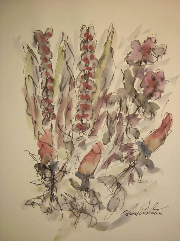 Floral Art Print featuring the painting Study Of Flowers S by Edward Wolverton