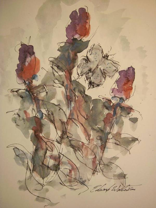 Florals Art Print featuring the painting Study Of Flowers Y by Edward Wolverton
