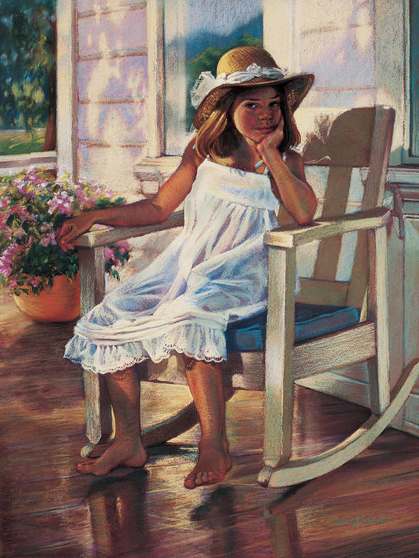 Girl Art Print featuring the painting Summer Afternoon by Jean Hildebrant