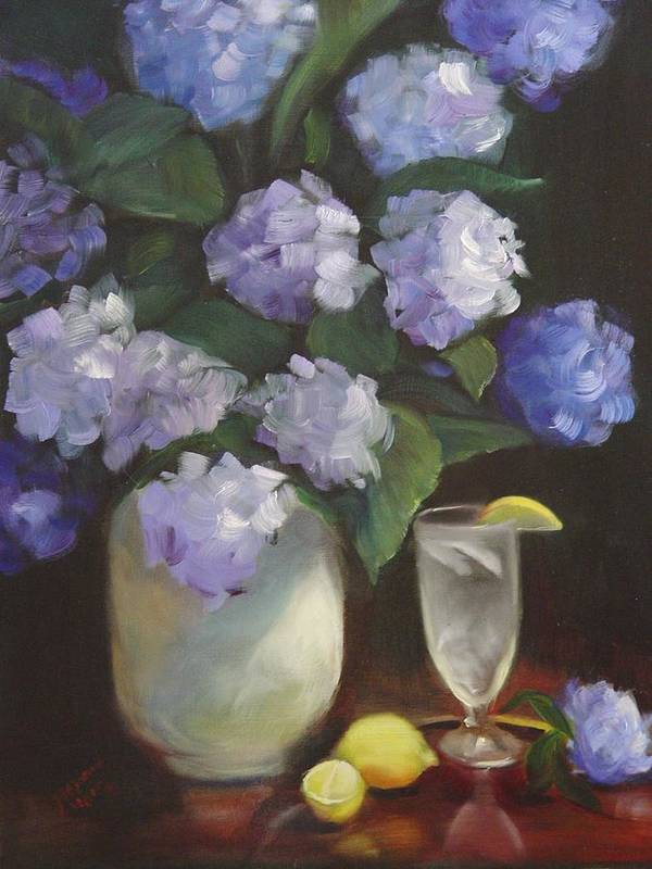 Hydrangea Still Life With Refreshing Fresh Lemonade To Cool A Hot Summer Day. Art Print featuring the painting Summer Reprieve by Melanie Miller Longshore