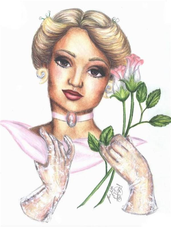 Portrait Art Print featuring the drawing Summer Rose by Scarlett Royal
