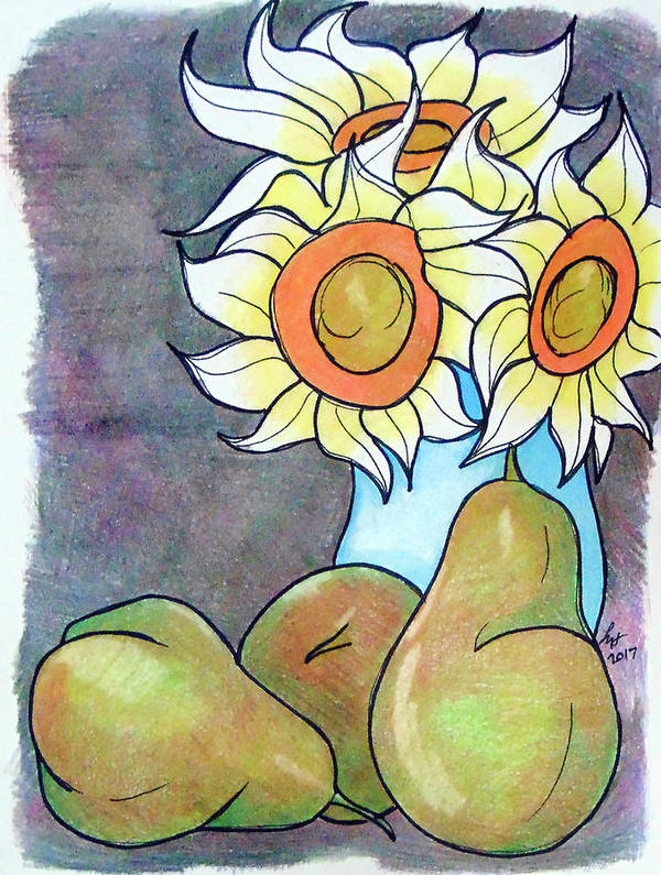 Sunflowers Art Print featuring the drawing Sunflowers And Pears by Loretta Nash