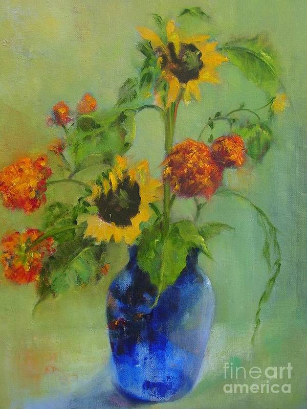 Contemporary Floral Art Print featuring the painting Sunflowers In Blue     Copyrighted by Kathleen Hoekstra