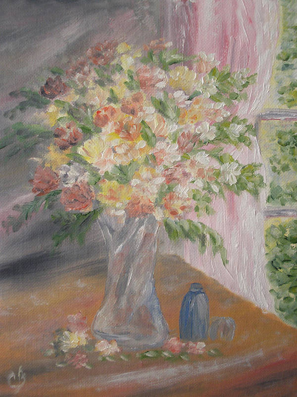 Flowers Art Print featuring the painting Sunlit Window by Carrie Mayotte