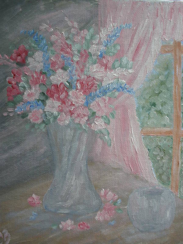 Flowers Art Print featuring the painting Sunlit Window II by Carrie Mayotte