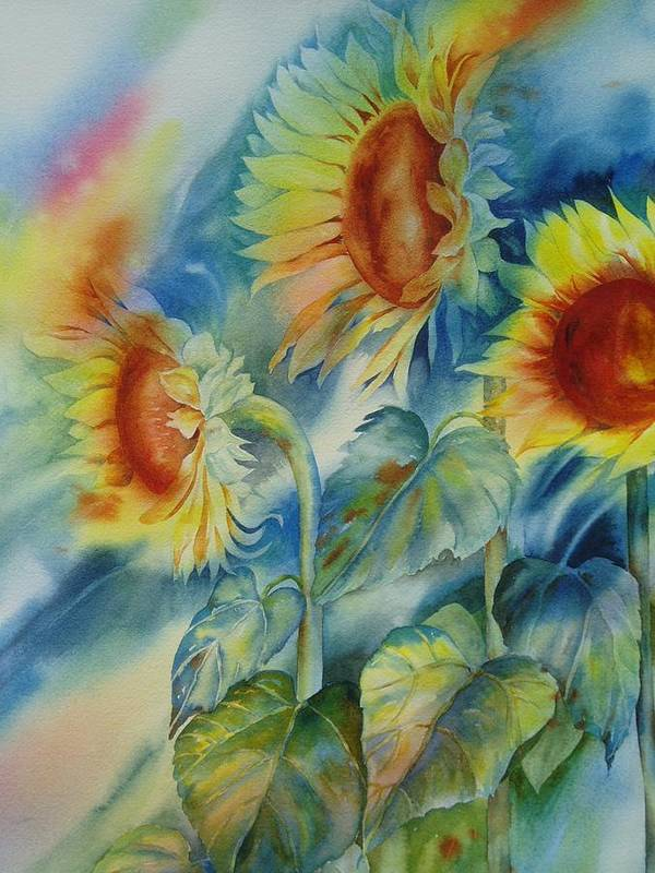 Sunflowers Art Print featuring the painting Sunny Flowers by Tara Moorman