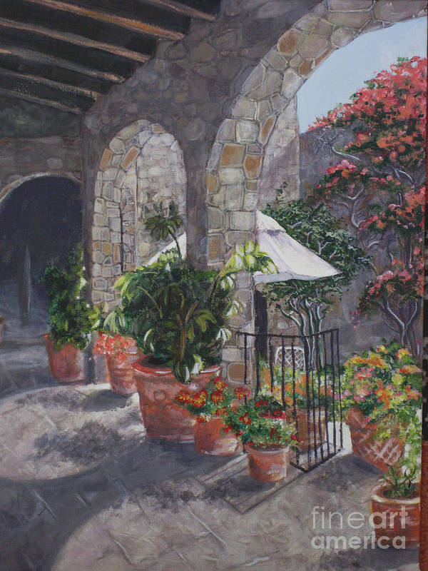 Courtyard Art Print featuring the painting Sunny San Miguel Courtyard by Birgit Coath - AFCA