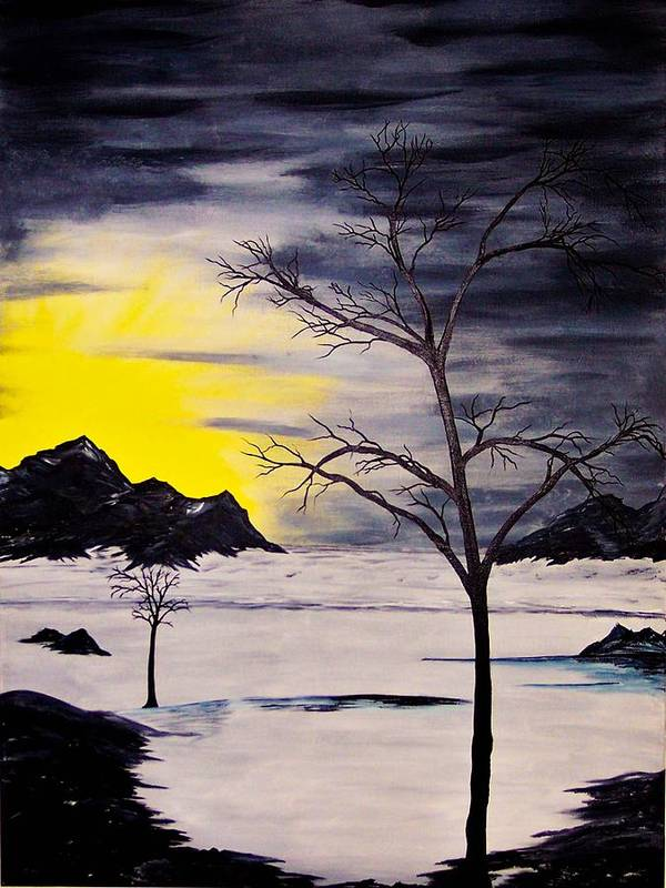 Original Art Print featuring the painting Sunset Kronos 3 by J Ringo