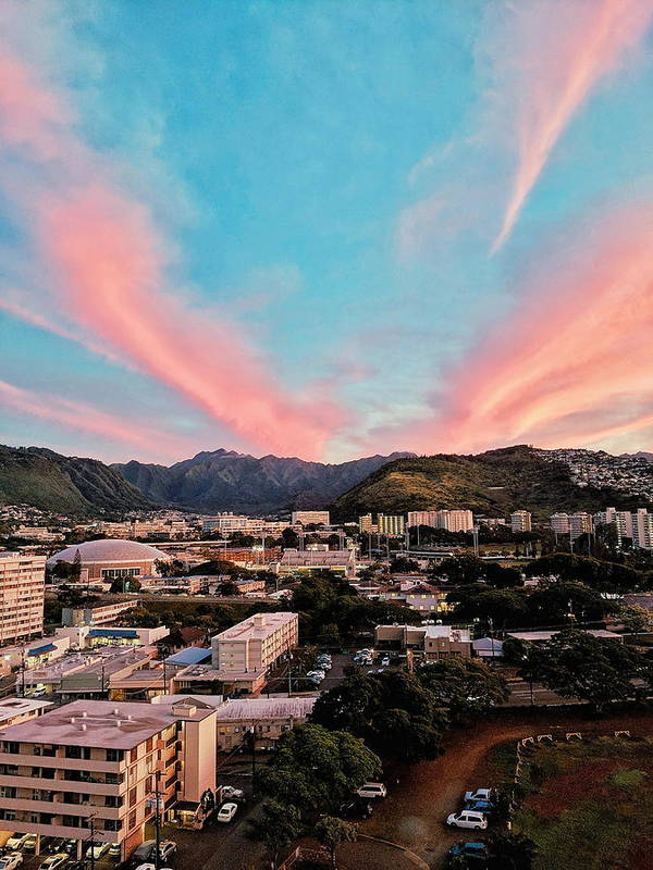 Sunset Art Print featuring the photograph Sunset Over Uh Manoa by Jason Keinigs