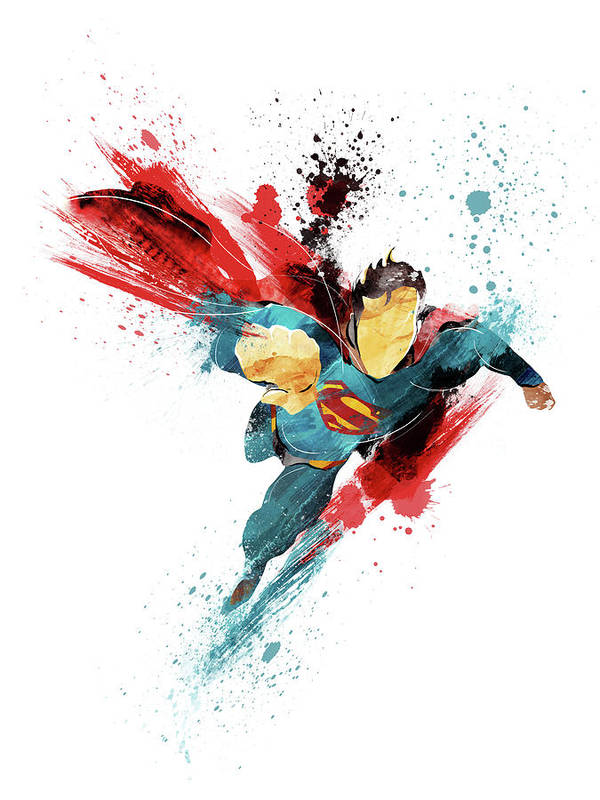 Superman Art Print featuring the painting Superman Abstract by Unique Drawing